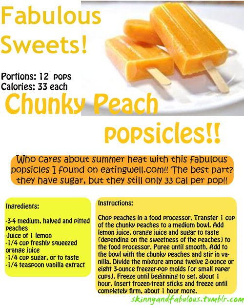 Healthy Diet, Popsicles Recipe, Homemade Popsicles, Chunky Peaches, Weights Loss, Healthy Sweets, Healthy Treats, Summer Treats, Peaches Popsicles