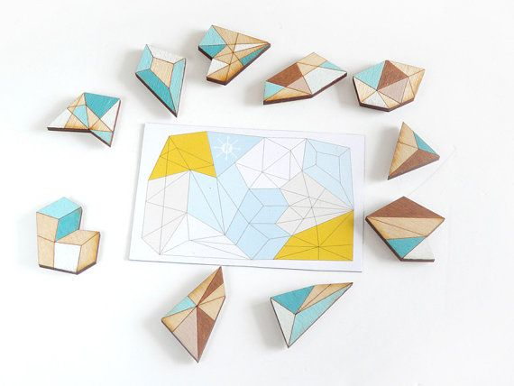 Geometric magnet puzzle set / fridge magnets turquoise by Ravdeco
