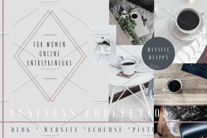 Lifestyle Business Photo Collection by Hannele Hyyppä on @creativemarket  Are you tired of finding only those girly pink photo packages for your online business?  Well darling, search no more! This photo collection includes 17 lifestyle business photos for making your business shine, gain credibility AND look beautiful at the same time! For website, social media, branding your e-course or e-book, Pinterest graphics, blog post images and more!