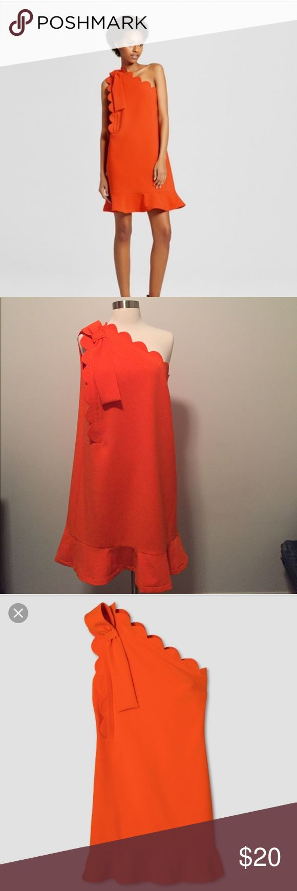 Victoria Beckham for Target Dress Wore once for a shower. A chic option for work or the weekend, this Women's Orange One Shoulder Dress with Bow and Scallop Trim by Victoria Beckham for Target. Victoria Beckham for Target Dresses One Shoulder