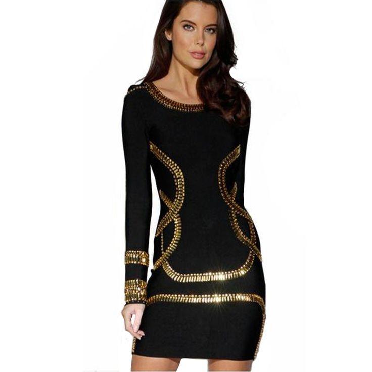 Charlee Cooper Black Gold Crystal Embellished Bandage Bodycon Dress