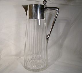 ARTS & CRAFTS STERLING CRYSTAL CLARET JUG c1900