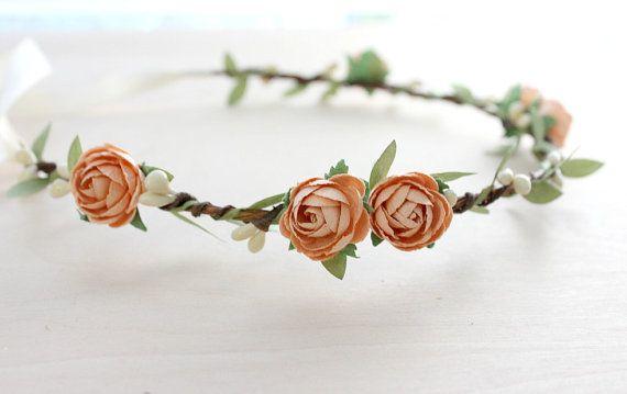 Peach Rose Bohemian Halo. Floral Crown, Flower Crown. Woodland, Wedding. Fall, Autumn, Hair Accessories, Boho, Bridal, Bridesmaids