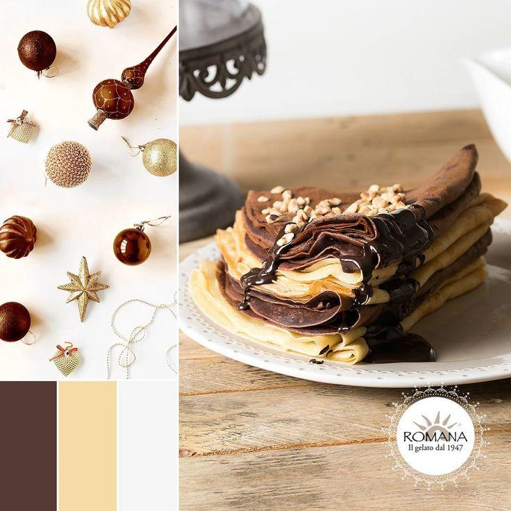 Sfumature dorate e color cioccolato, come le decorazioni di Natale e le nostre Crêpes con impasto classico o al cacao!
