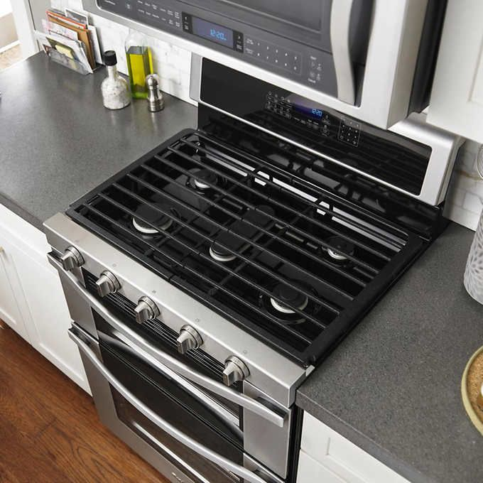 Whirlpool 6.0CuFt GAS Double Oven Range with Central Oval Burner in Stainless Steel