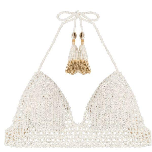 She Made Me Crochet Bikini Top (155 AUD) ❤ liked on Polyvore featuring swimwear, bikinis, bikini tops, white, swimsuit tops, triangle bikinis, white triangle bikini top, white crochet bikini and halter swim top