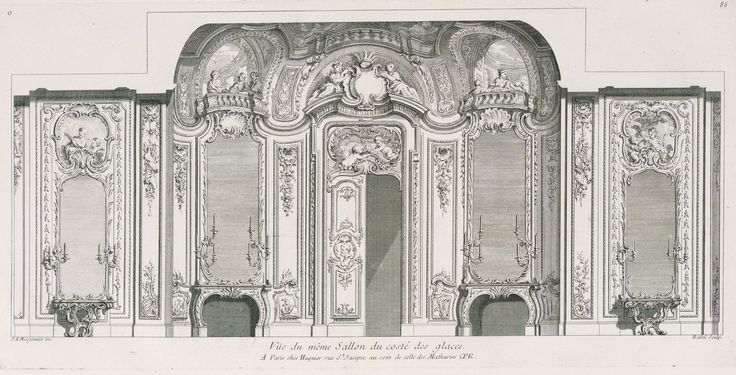 Golden Salon in the Czartoryski Palace in Puławy by Pierre-Edmé Babel after Juste Aurèle Meissonnier, ca. 1732-1735 (PD-art/old), Cooper Hewitt, Smithsonian Design Museum; Meissonnier created the interior with painted panels representing putti and groups of ladies sitting in a trompe l'oeil balcony in 1735 for Maria Zofia Czartoryska née Sieniawska, heiress of Sieniawska's fortune
