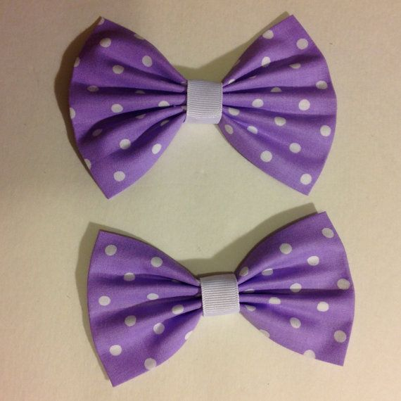 One Lavender Purple Polka Dots Hair BowBow by trendybowsnbands, $3.50