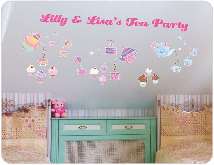 Decorate your little girl's bedroom with Tea Party Girls wall stickers. She'll love having pretty colours in her room. Visit us to get girls bedroom theme ideas.