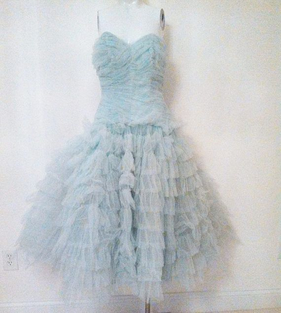 Vintage 1950s 50s Cupcake Strapless Tulle Dress / Ruched