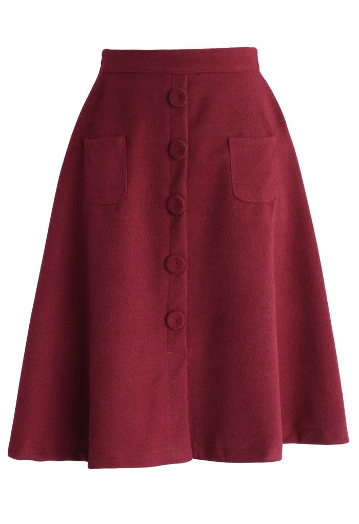 Retro Faux Suede A-line Skirt in Burgundy