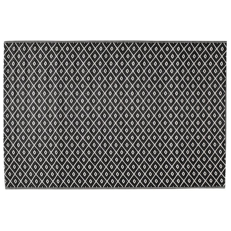 Outdoor-Teppich aus Kunststoff, 120 x 180cm, schwarz/weiß | Maisons du Monde
