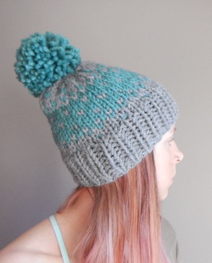 knit fair isle hat, knit beanie, grey and teal, chunky knit beanie by LoveEweNatural on Etsy