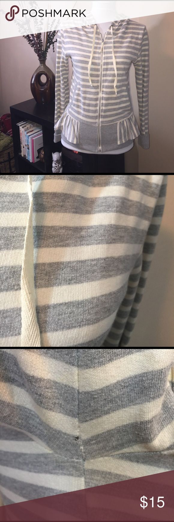 NEW Anthropologie Striped Zip-Up Ruffle Sweatshirt NEW with tags Anthropologie grey and white striped zip-up sweatshirt! The right armpit has a small pinhole which is shown in the picture! Size small! Anthropologie Tops Sweatshirts & Hoodies