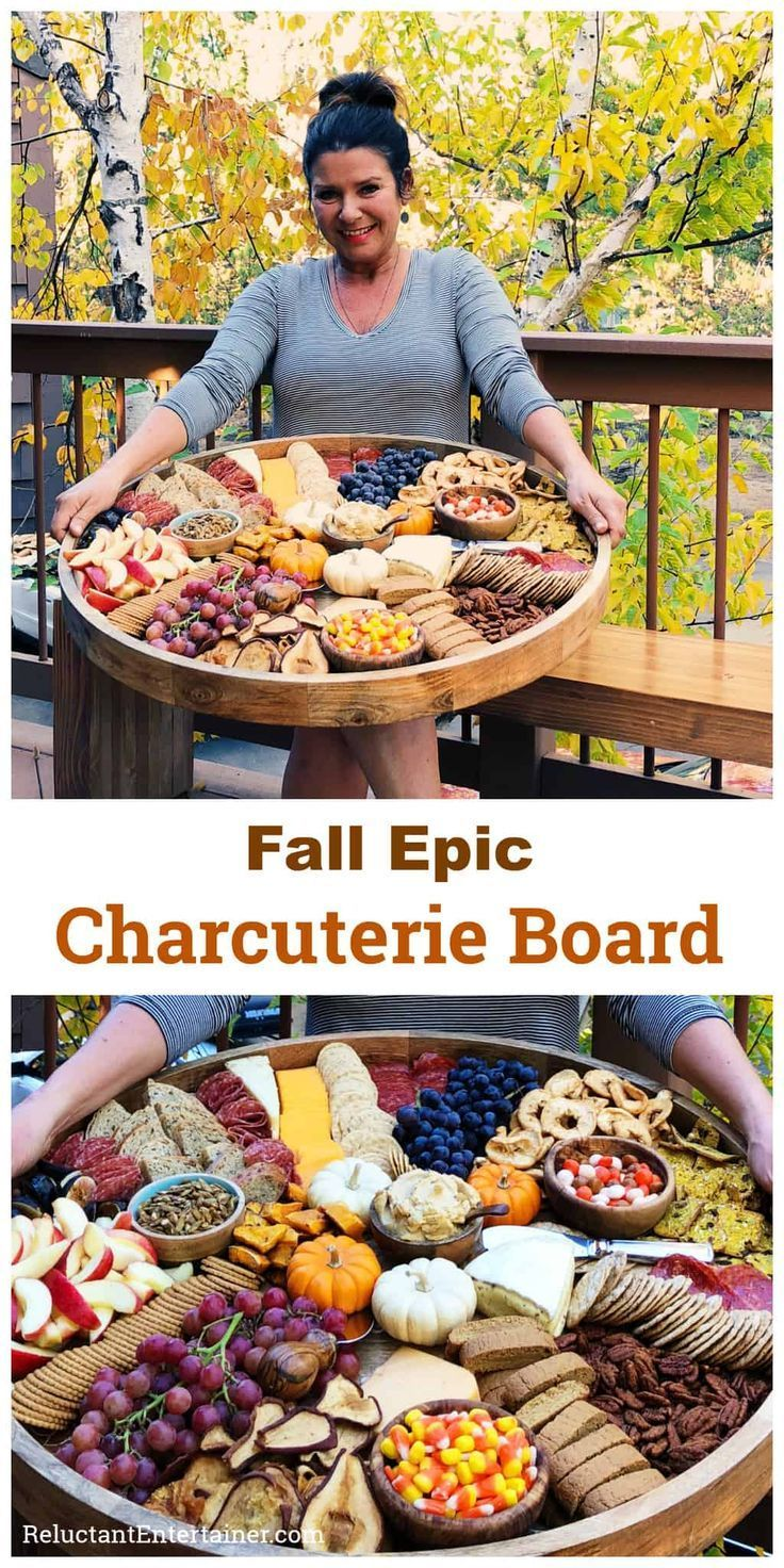 Fall Epic Charcuterie Board for casual entertaining, filled with pumpkin treats,…