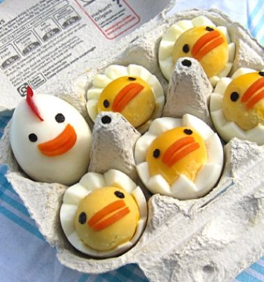 Deviled egg chicken family (chicks and hen) - fun easter dish // Tyúkanyó és csibéi főtt tojásokból - húsvéti előétel // Mindy - craft tutorial collection //
