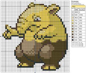 Birdie Stitching Pokemon Pattern - 96 Drowzee
