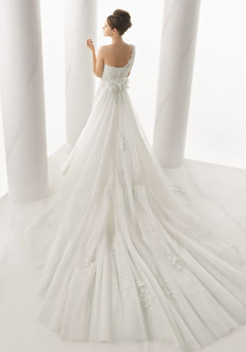 Fantastic Lace & Tulle Mermaid One Shoulder Floor Length Sleeveless Wedding Dress