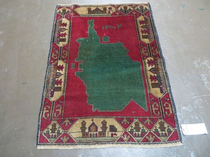 3' X 4' New Hand Made Afghan Balouch Tribal Wool Pictorial Map Rug # 944