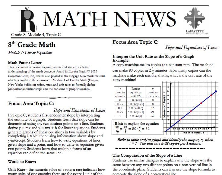 46 best grade 8 eureka math images on pinterest eureka math grade grade 8 module 4 topic c parent newsletter developed by eureka math users fandeluxe Gallery