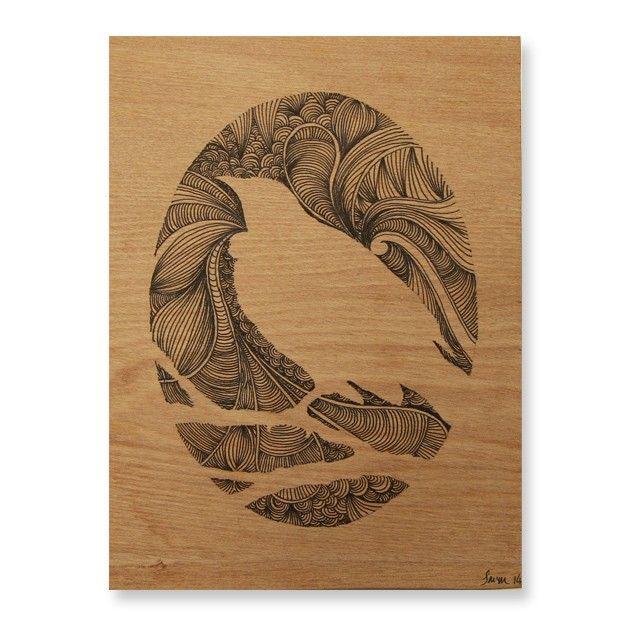 Tui on Rimu Original Drawing Joe McMenamin NZ Art Prints, Design Prints, Posters & NZ Design Gifts | endemicworld