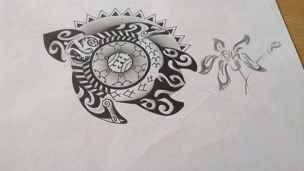 черепашка Полинезийское Тату  Polinesian tattoo татуировка в стиле полинезия