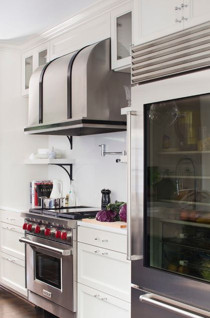 transitional kitchen by TerraCotta Properties -love the hood!