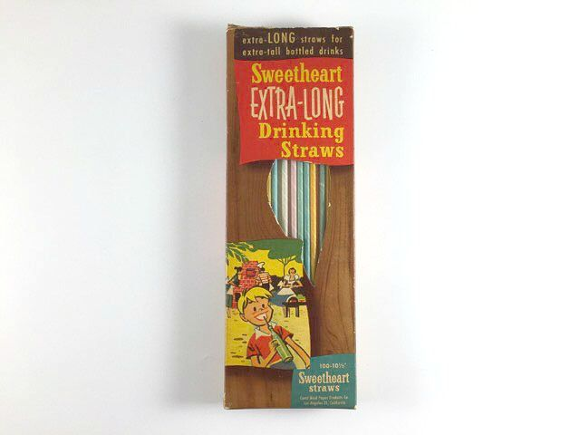 Vintage Sweetheart Extra Long Drinking Straws In Box Mid Century BBQ Retro Graphics Kitchen Farmhouse Ranch Decor Kitchenwares In Package - pinned by pin4etsy.com
