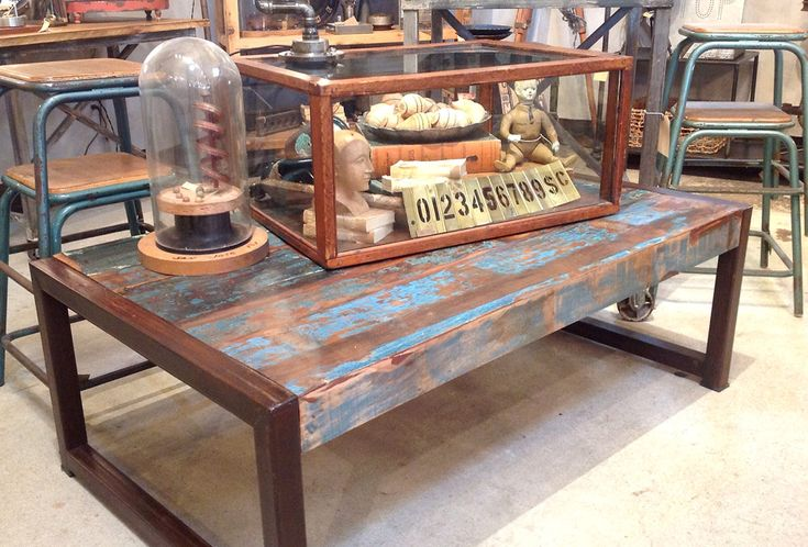 recycled wood table | reclaimed wood blue green steel coffee table
