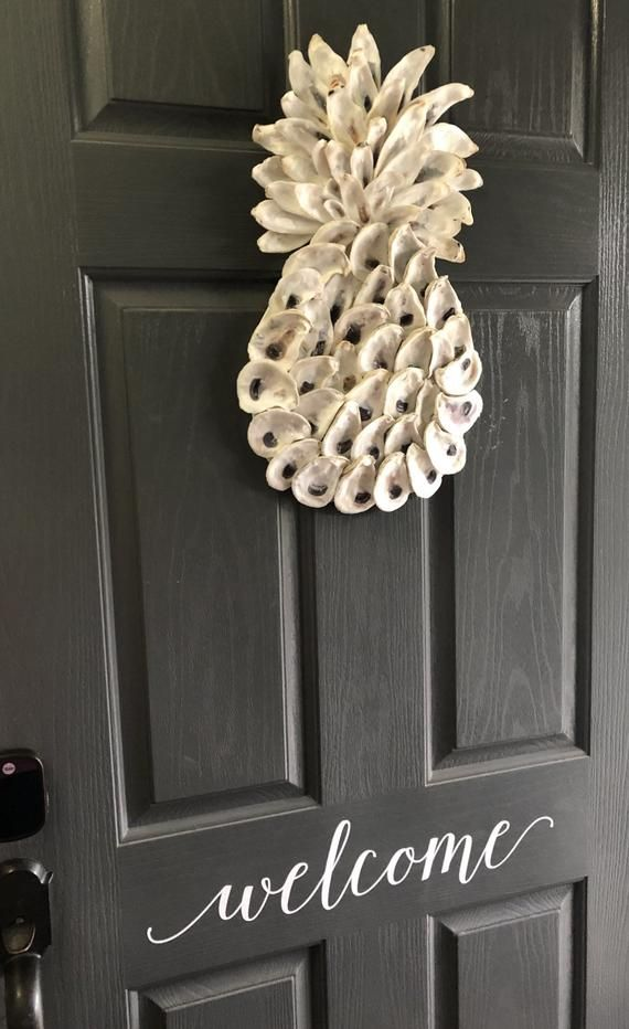 Pineapple Oyster Art Welcome Home Pineapple Decor Etsy Pineapple Decor Oyster Shell Crafts Oyster Shells Decor