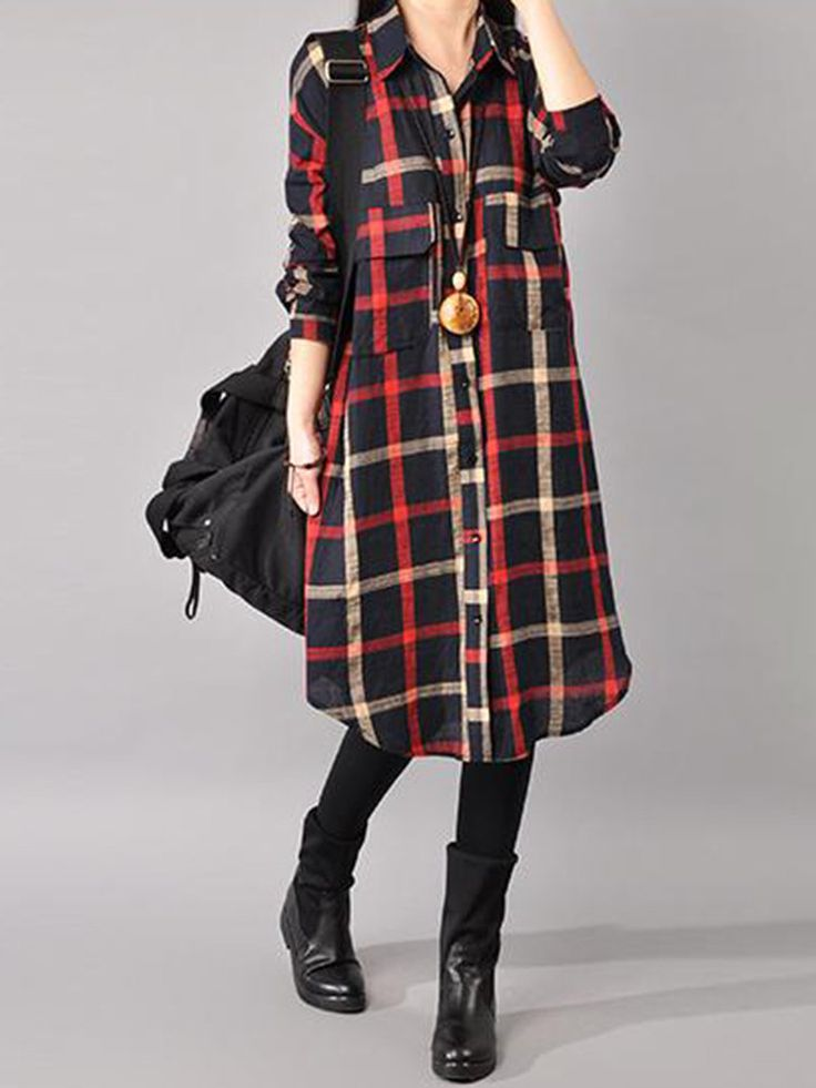 Gracila Casual Loose Plaid Turn-Down Collar Front Closure Women Dresses  #women #fashion #accessories