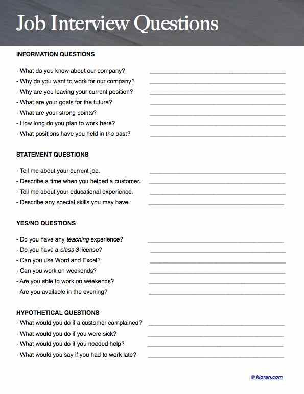 Interview Questions Template Best This Is A Prep Sheet To Help You Before During And After Your Job .