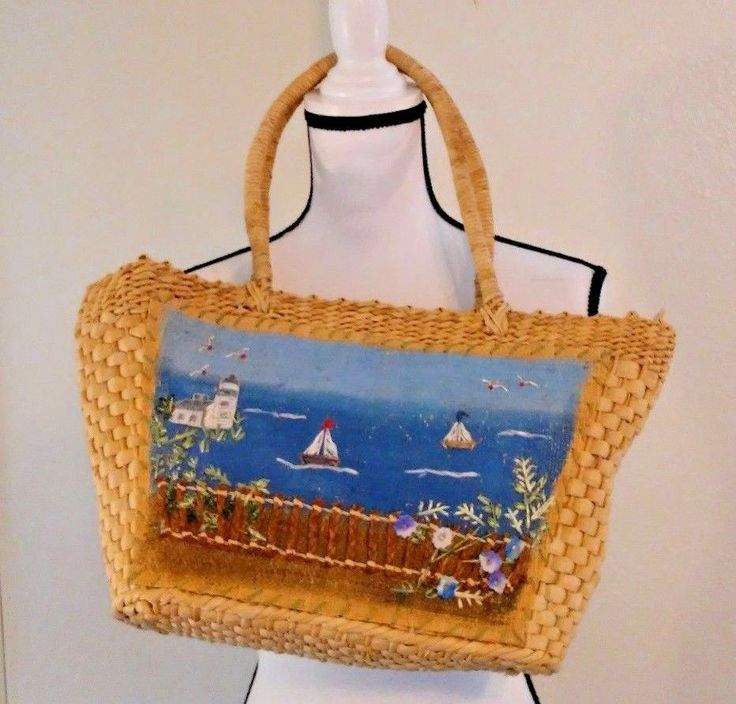 Cappelli Straworld Tote Beach Yacht Boat Ocean Scene Fence Large Painted #CappelliStraworld #TotesShoppers