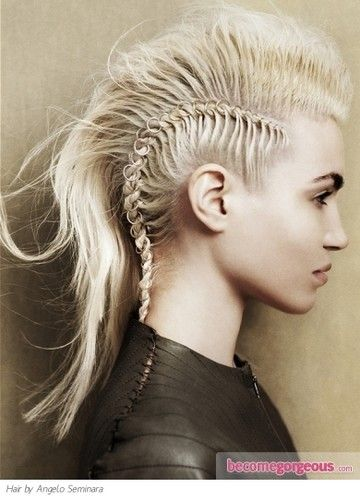 mohawk: Braids Hairstyles, Braids Mohawks, Inspiration, Makeup, Beautiful, Girls Hairstyles, Hair Style, Faux Hawks, Side Braids