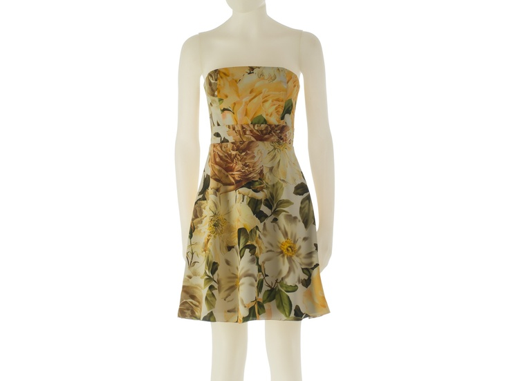 Short dress with yellow roses print in silk by L.Catherine London.