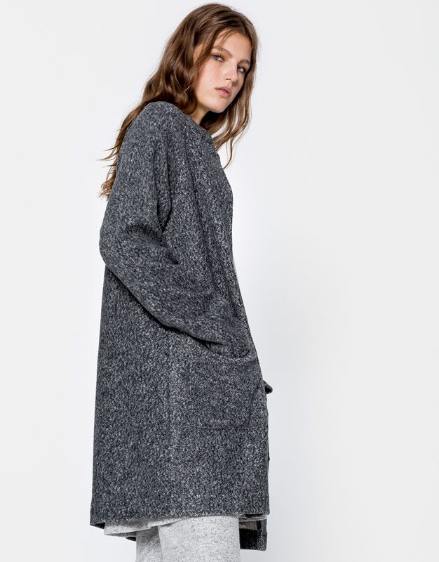 Flecked coat with a bomber collar - Coats - Coats and jackets - Clothing - Woman - PULL&BEAR Ireland