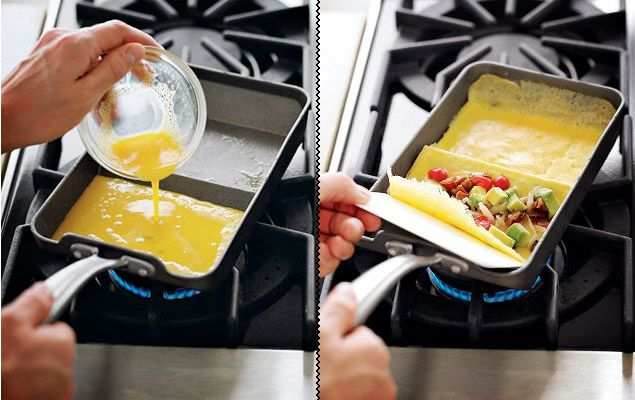 I just learnt how to use one of these when I was in Japan last week. Now I can buy one! Nordic Ware Rolled Omelette Pan. Too cool! $40