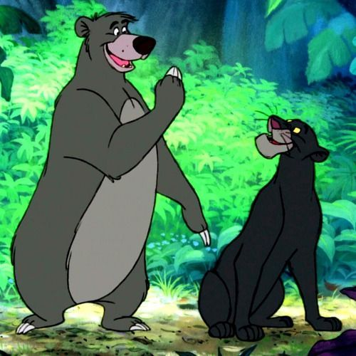 Baloo and Bagheera then turn and go back to their home, deep in the jungle.
