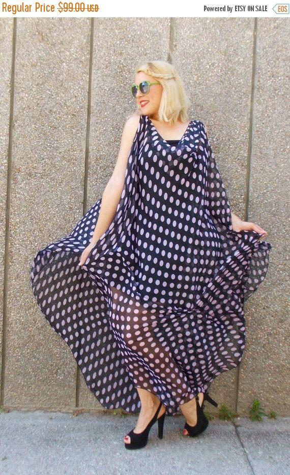 ON SALE 40% OFF Maxi Black Polka Dot Dress / Plus Size by Teyxo