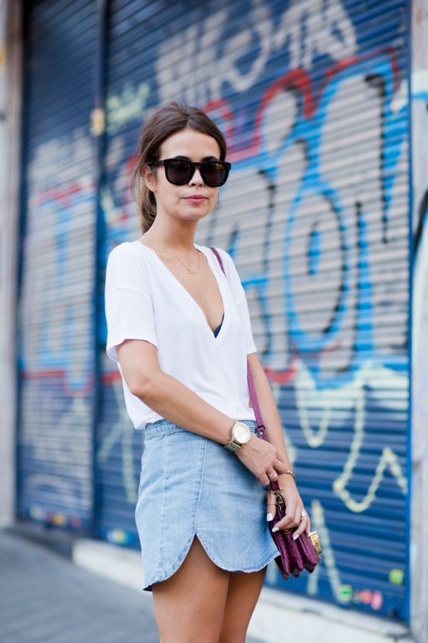 white tee and jean skirt. simple outfit.