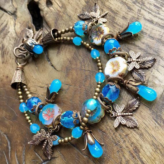 Turquoise aqua blue opal Garden bracelet romantic by lecoupdegrace