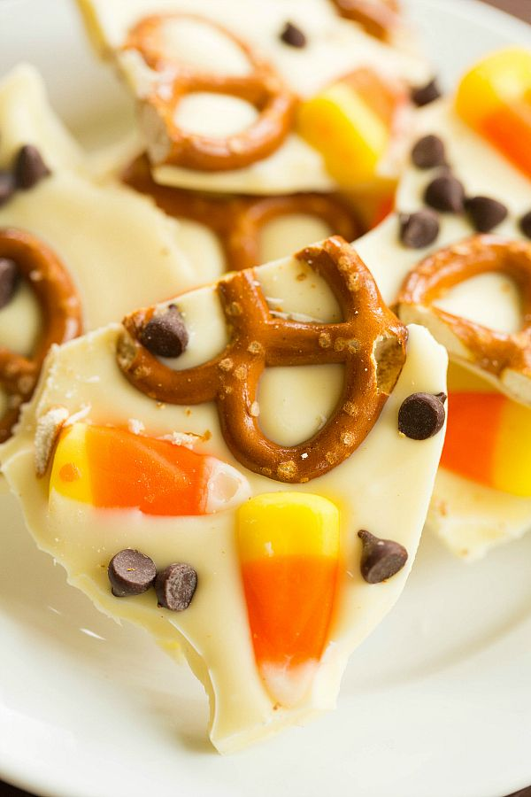Candy Corn Pretzel Chocolate Bark