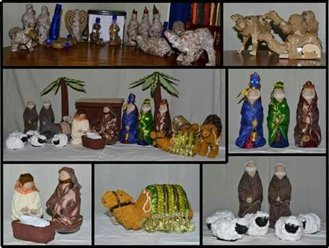 Made from plastic bottles, paper mashe and wood chips. Nativity scene from all recycled materials