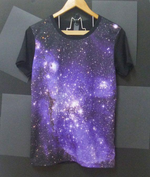 Purple nebula universe galaxy T SHIRTS short sleeve by CuteClassic, $16.00