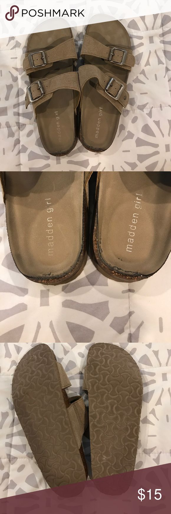 Madden Girl Birkenstock sandals Wore 5 times. Slightly too small in the back. Great beach shoe! Madden Girl Shoes Sandals