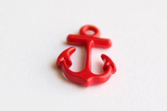 Pendentif ancre de marin / breloque rouge recto et verso • Joli Mercredi • Accessoires pour bijoux DIY • http://www.alittlemercerie.com/boutique/joli_mercredi-45509.html