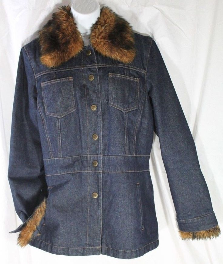 L-Nine West Denim coat Faux Fur removeable collar long jacket quilted lining  #NineWest #JeanJacket