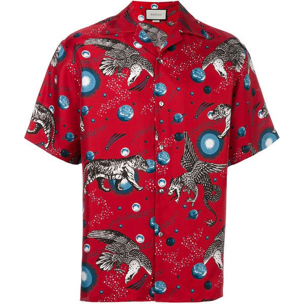 Gucci printed pyjama shirt (£805) ❤ liked on Polyvore featuring men's fashion, men's clothing, men's shirts, men's casual shirts, dad, gucci, red, mens red silk shirt, mens silk shirts and mens short sleeve silk shirts