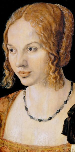 Graphic Art: Painting – Albrecht Dürer ~ Portrait of a Young Venetian Woman (detail), 1505