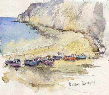 Beer, Devon. Watercolour, Kathy Lewis